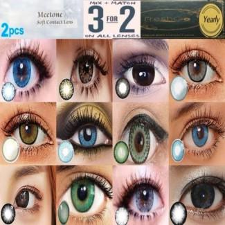 2 TONE Blue Grey Green Brown Chocolate Black Hazel Coloured Conact Lenses Hidrocharme Hidrocor Freshgo & Ice Meetone (2 lenses) Contact Lenses