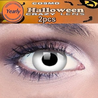 Zombie White Fancy Dress Crazy Halloween Contact Lenses Lens 1 YEAR
