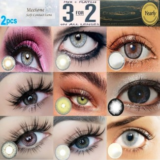 Grey Natural Coloured Contact Lenses Two & Three Tone (2 lenses) 365 Days