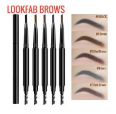 LOOKFAB Eyebrow PENCIL & BRUSH - RETRACTABLE - Fine Brow Definition Shaper - Waterproof Liner 5 SHADES