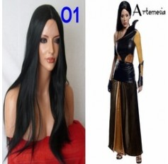 Wig for Artemesia costume Long Dark Black Wig Poker Straight Halloween Fancy Dress