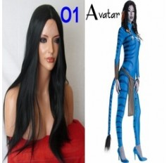 Wig for Avatar costume Long Dark Black Wig Poker Straight Halloween Fancy Dress