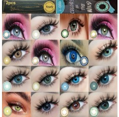Pair Green Grey Brown Blue Violet Contact lens 3 Tone Coloured lenses (annual wear)
