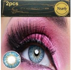 BLUE Coloured Contact Lens Pair - 3 TONE Freshgo Natural Blue Contact Lenses Lens Contacts (2 lenses) A3