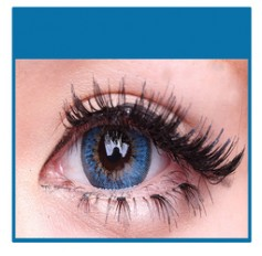 BLUE Coloured Natural Looking Contact Lenses Cuno 3 Tone - 1 Year (Pair)