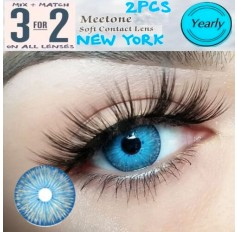 BLUE Contact Lenses Lens NEW YORK 3 Tone Bright Blue Coloured Contacts lens Extended wear (2 lenses)
