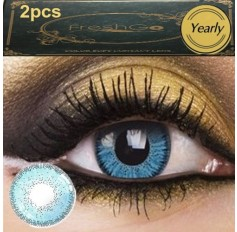BLUE 2 TONE Freshgo Chanel2 Contact Lens Pair 12 MONTH wear lenses Blue Coloured Contacts (2 lenses)