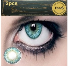 TURQUOISE BLUE Coloured Contact Lens Pair 3 TONE Freshgo Natural Blue Green Contact Lenses Lens Contacts (2 lenses) A3