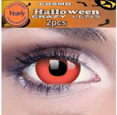 Devil Red Fancy Dress Crazy Halloween Contact Lenses Lens 1 YEAR