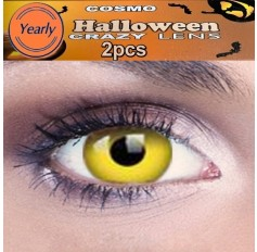 Yellow Rave Fancy Dress Crazy Halloween Contact Lenses Lens 1 YEAR