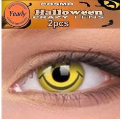 Acid Trip Smiley CONTACTS Fancy Dress Crazy Halloween Contact Lenses Lens 12 Month wear (2 lenses)
