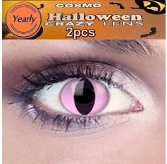 Pink Cat Eye Fancy Dress Crazy Halloween Contact Lenses Lens 1 YEAR