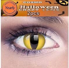 Yellow Cat Eye Fancy Dress Crazy Halloween Contact Lenses Lens 1 YEAR