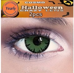 Mad Hatter Green Fancy Dress Crazy Halloween Contact Lenses Lens 12 Month wear (2 lenses)