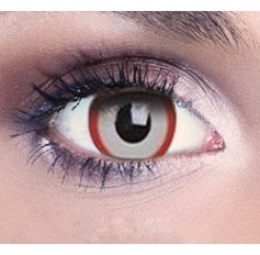 Red & White Demon Contact Lenses 1 Year