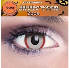 Red & White Demon Fancy Dress Crazy Halloween Contact Lenses Lens 12 Month wear (2 lenses)