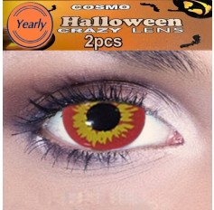 Evil Dead Zombie / Pennywise the Clown Red Yellow Fancy Dress Crazy Halloween Contact Lenses Lens 12 Month wear (2 lenses)