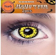 Tigera Yellow Black Fancy Dress Crazy Halloween Contact Lenses Lens 12 Month wear (2 lenses)