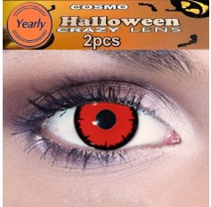 Ghost Rider RED Fancy Dress Crazy Halloween Contact Lenses Lens 12 Month wear (2 lenses)