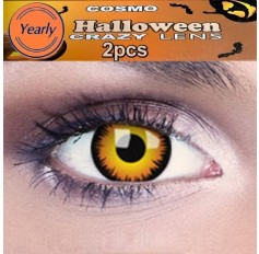 Orange Wolf / Werewolf Fancy Dress Crazy Halloween Contact Lenses Lens 12 Month wear (2 lenses)