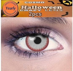 """""""CARRIE"""" White Blood Red Blood Eye CONTACTS Fancy Dress Crazy Halloween Contact Lenses Lens 12 Month wear (2 lenses)"""