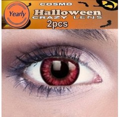 Possessed Red CONTACTS Red Twilight Saga Fancy Dress Crazy Halloween Contact Lenses Lens 12 Month wear (2 lenses)