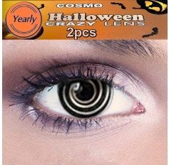 Psycho CONTACTS Fancy Dress Crazy Halloween Black Contact Lenses Lens 12 Month wear (2 lenses)