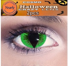 Green Cat Eyes Fancy Dress crazy contact Lenses  - 1 Year (Pair)