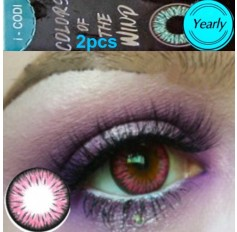 Pink Coloured Contact lenses 3 TONE Colours of Wind SWEET RUBY contact lens Pair Dark Pink Contacts (2 Lenses)