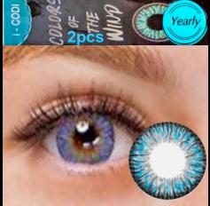 Blue Coloured Contact lenses 3 TONE Colours of Wind BLUE RAIN contact lens Pair Blue Contacts (2 Lenses)