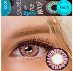 Pink Coloured Contact lenses 3 TONE Colours of Wind PINK MOCHA contact lens Pair Pink Contacts (2 Lenses)