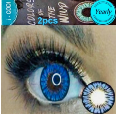 Blue Coloured Contact lenses 3 TONE Colours of Wind ICE FLOWER contact lens Pair Blue Contacts (2 Lenses)