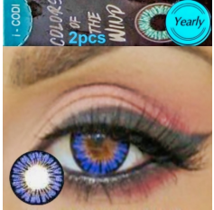 Blue Coloured Contact lenses 3 TONE Colours of Wind DEW BLUE contact lens Pair Royal Blue Contacts (2 Lenses)