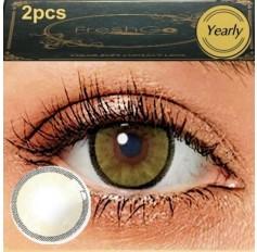 CRYSTAL Light Ochre 2 TONE Hidrocharme Hidrocor Freshgo Contact Lens 12 MONTH wear lenses Brown Hazel Coloured Contacts (2 lenses)