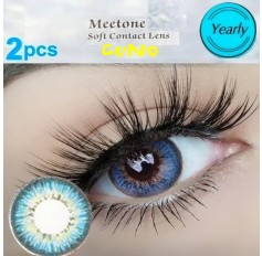 BLUE 12 Month Wear Contact Lenses Lens CUNO Natural Coloured 3 TONE Contacts (2 lenses)