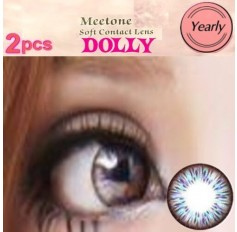 BLUE Contact lenses Yearly Big Eye Circle fashion coloured Contact Lenses Dolly 3 Tone (2 lenses)
