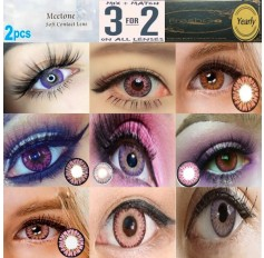 Pink Violet Purple Natural Coloured Contact Lenses Two & Three Tone (2 lenses) 365 Days