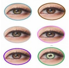 Coloured Contact Lenses Giselle Rainbow 3 Tones  - 1 Year (Pair) Amber Brown Blue Green Grey Pink Violet Red