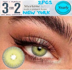 GREY Contact Lenses Lens NEW YORK 3 Tone Light Grey Coloured Contacts lens Extended wear (2 lenses)