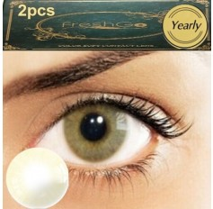 Pair Hazel Amber Brown Freshgo Contact Lens Annual 1 year wear Natural Coloured Contacts 2 lenses