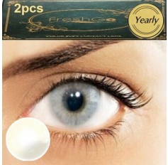 Pair Grey CRYSTAL Hidrocor Freshgo Contact Lens 3for2 on all Annual 12 MONTH wear lenses Natural Grey Coloured Contacts No limbal ring (2 lenses)