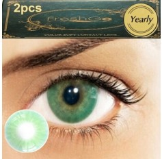 Pair Green Emerald Hidrocor Freshgo Contact Lens 3for2 on all Annual 12 MONTH wear lenses Natural Grey Coloured Contacts No limbal ring (2 lenses)