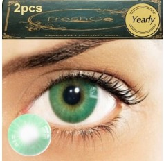 Pair Green VERDE Hidrocor Freshgo Contact Lens 3for2 on all Annual 12 MONTH wear lenses Natural Grey Coloured Contacts No limbal ring (2 lenses)