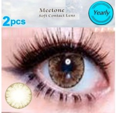 BROWN 2 TONE Natural Contact Lens 1 PAIR - 12 months wear Brown Meetone ICE Coloured Contacts (2 lenses)