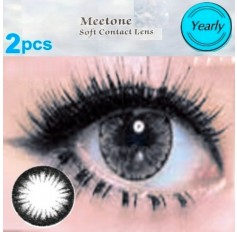 BLACK 2 TONE Natural Contact Lens 1 PAIR - 12 months wear Black Meetone ICE Coloured Contacts (2 lenses)