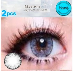 GREY 2 TONE Natural Contact Lens 1 PAIR - 12 months wear Grey Meetone ICE Coloured Contacts (2 lenses)