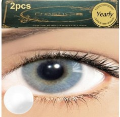 Pair ICE GREY Hidrocor Freshgo Contact Lens 3for2 on all Annual 12 MONTH wear lenses Natural Grey Coloured Contacts No limbal ring (2 lenses)