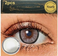 ICE GREY 2 TONE Hidrocharme Hidrocor Freshgo Contact Lens 12 MONTH wear lenses Grey Coloured Contacts (2 lenses)
