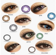 Cosmetic Contact Lenses Kilala Popcorn - 1 Year (Pair) Black Blue Brown Chocolate Grey Pink Green