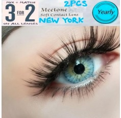 BLUE MARBLE Contact Lenses Lens NEW YORK 3 Tone Blue Coloured Contacts lens Extended wear (2 lenses)